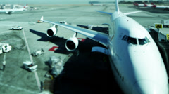 Time lapse busy airport with planes and cargo ready for departure. Runway full Stock Footage