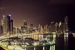 Timelapse Panama City Skyline (color graded) - stock footage