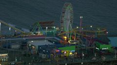 Santa Monica, California, USA - March 22, 2012: Santa Monica Pier, Aerial Stock Footage