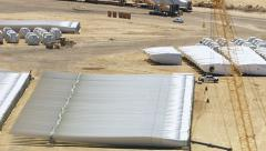 California, USA - March 22, 2012: Aerial shot of wind farm construction site Stock Footage