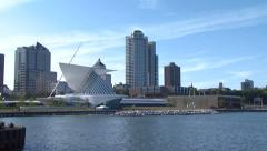 Milwaukee Skyline from Water Museum of Art Building Stock Footage
