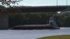 Barge under Bridge - stock footage