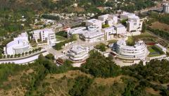 Los Angeles, California, USA - March 22, 2012: Aerial shot of the Getty Center Stock Footage