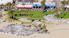 Venice Beach, California, USA - March 22, 2012: Aerial shot of Venice Beach Stock Footage