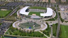 Los Angeles, California, USA - March 22, 2012: Aerial shot of sports arena - stock footage