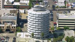 Los Angeles, California, USA - March 22, 2012: Aerial shot of Capitol Records Stock Footage
