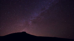 Stars, Beautiful Night Sky Above Mountain Top, Time Lapse Stock Footage