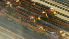 Los Angeles, California, USA - March 22, 2012: Aerial shot of train engines - stock footage