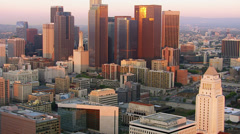 Los Angeles, California, USA - March 22, 2012: Aerial shot of downtown Stock Footage