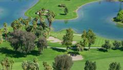 Palm Springs, California, USA - March 22, 2012: Aerial shot of golf course Stock Footage