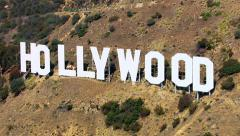 Los Angeles, California, USA - March 22, 2012: Aerial shot of the Hollywood sign Stock Footage