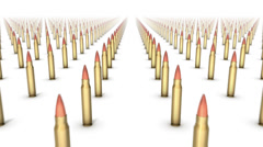Dolly forward over many Rifle Bullets to none Stock Footage