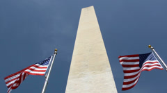 Washington Monument and flags Stock Footage