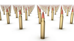 Sweeping across endless Rifle Bullets front Stock Footage