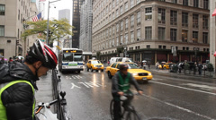 New York 5th Avenue, cars, cabs, pedestrians Stock Footage