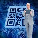 Stock Illustration of Composite image of boss showing a touch pad screen