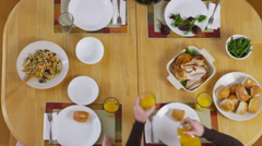 Overhead shot of food at the dinner table Stock Footage