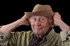 Funny old man in a hat Stock Photos