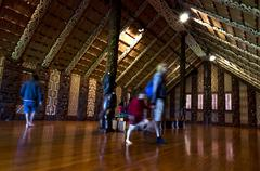 maori meeting house - marae - stock photo