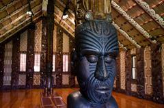maori meeting house - marae - stock photo