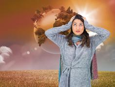 Composite image of anxious pretty brunette wearing winter clothes posing - stock illustration