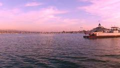 Balboa Island Ferry Across Channel- Newport Beach CA Stock Footage