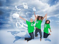 Composite image of enviromental activists jumping and smiling - stock illustration