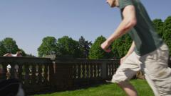 Group of free runners at park Stock Footage