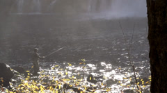 Fly Fishing Under a Waterfall Stock Footage