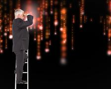 Composite image of mature businessman standing on ladder - stock illustration