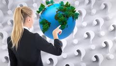 Composite image of businesswoman pointing somewhere - stock illustration