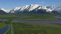 Aerial shot of Alaska, nature and roadway Stock Footage