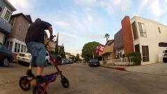 Riding Bicycle In Balboa Island Neighborhood- Newport Beach CA Stock Footage