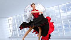 Composite image of dancing woman in a red and black dress Stock Illustration