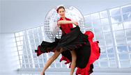 Stock Illustration of Composite image of dancing woman in a red and black dress