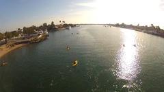 Wide Angle Kayaks On Newport Bay- Newport Beach California Stock Footage