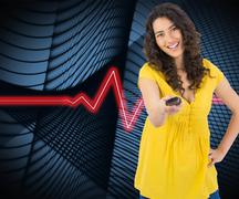 Stock Illustration of Composite image of smiling curly haired pretty woman changing channel with
