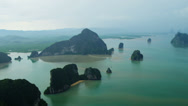 Stock Video Footage of Aerial view Phang Nga Bay Marine National Park,Thailand