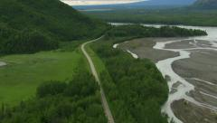 Aerial shot of Alaska nature and roadway Stock Footage