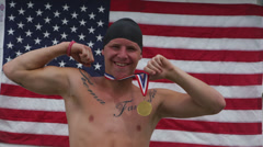 American medal winning swimmer Stock Footage