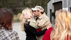 Army soldier leaving home Stock Footage