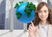 Stock Illustration of Composite image of classy businesswoman touching invisible screen