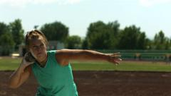 Track and Field athlete doing shot-put, slow motion Stock Footage