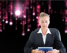 Composite image of businesswoman sitting on swivel chair with tablet Stock Illustration