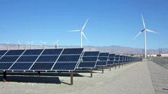 Solar Panels and Wind Turbine Power Stock Footage