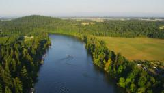 Aerial shot of Willamette River, Oregon Stock Footage