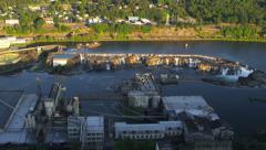 Aerial shot of Willamette Falls, Oregon Stock Footage