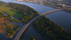 Aerial view of I-205 bridge between Oregon and Washington Stock Footage