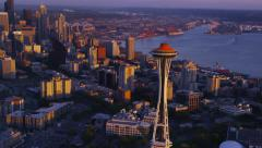 Aerial shot of Seattle at dusk Stock Footage