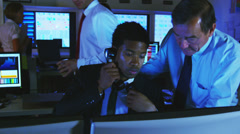 Financial business team working late or security cctv systems. Could be large Stock Footage